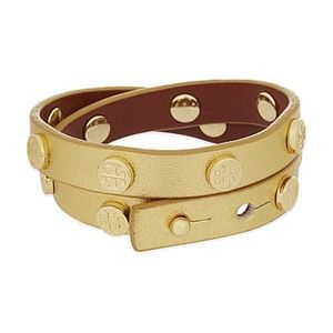 TORY BURCH | EUC gold leather logo wrap bracelet